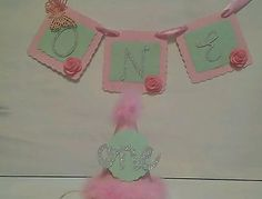 1st birthday highchair banner girl one birthday bunting and party hat pink mint