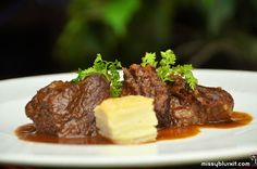 Braised beef prime ribs with potato millefoille