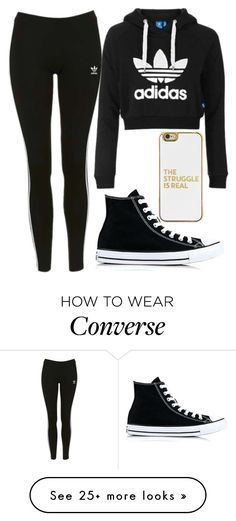 """""""Adidas swag"""" by nmdejager on Polyvore featuring Topshop, adidas Originals, Converse and BaubleBar"""