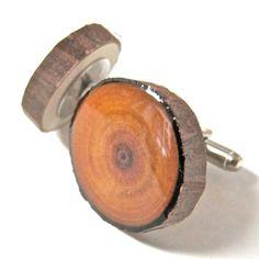 Wood Cufflinks, Wedding Cufflinks, Mens Cufflinks, Redwood Cufflinks, Wooden Cufflinks