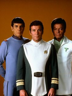 Mister Spock, Captain Kirk and Doctor McCoy from Star Trek the Motion Picture.