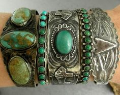 Harvey Era Stamped Old Pawn Navajo Green Turquoise Buffalo Cuff Bracelet! Wow, love this might have to look for something like this while I'm I'm Arizona!!!