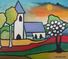 Kerk in bonte kleuren Pastels, Ramen, Folk Art, Modern Art, Mosaic, Projects To Try, Artsy, Cool Stuff, Drawings