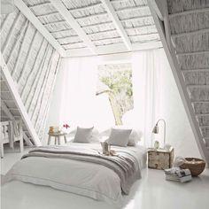 Dreamy all white attic bedroom | Daily Dream Decor
