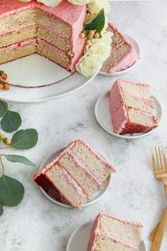 Strawberry Basil Cake with Strawberry Simple Syrup + Strawberry Buttercream Strawberry Layer Cakes, Homemade Strawberry Cake, Strawberry Recipes, Baking Recipes, Cake Recipes, Dessert Recipes, Just Desserts, Delicious Desserts, Strawberry Simple Syrup