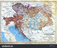 The map of Austria-Hungary with explanation of signs on map from the late 1800s, Trousset encyclopedia (1886 - 1891).