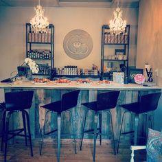 Canvas' beautiful bar! #canvasbeautybar #colorbar #saloninteriors #yoursinstyle #canvasboone