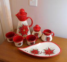 Vintage Teacups, Serving Platters, Poinsettia, Tea Set, Vintage Christmas, 1970s, Tea Cups, Xmas, China