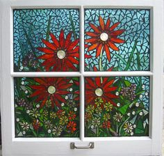 mosaic window images | Shattered Portraits - Red Gerber Daisies Stained Glass Window Mosaic