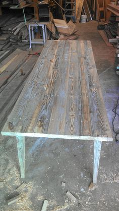 Outdoor Dining Tables (from reclaimed wood) by Landrum Tables. Charleston, SC