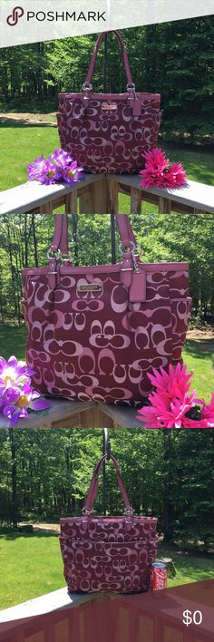 COACH Large Tote. Brand NEW!! Guaranteed authentic or your money is refunded. Beautiful brand new Coach large size tote. Pic #3 shows it next to a regular size 12oz pop can for a visual size comparison. Bag has lots of LEATHER. Leather corners, trim, detail and leather straps. Zipper closure on tote. Outside has pockets on each end. Large slip pocket on the backside of the bag. Absolutely GORGEOUS bag!! Exceptional quality!! Comes with coach dust bag. Bag is new without tags.  Never used…