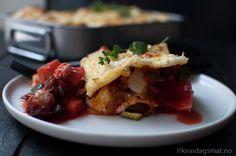 Vegetarlasagne med omnsbakte rotgrønsaker og fetaost
