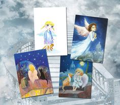 Angel card Set of 4 cards Angel painting Postcard set Christmas card Angel illustration  Art for Kids Nursery wall decor by Mirabilitas on Etsy