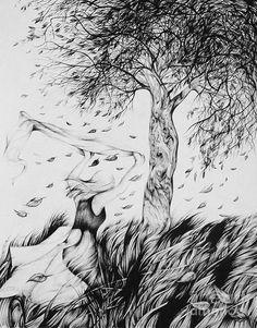 Title: Season of Falling Leaves. Artist: Anna Duyunova. Medium: #Drawing - Pen And Ink