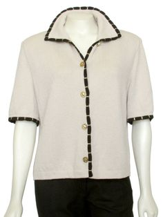 7c0a27c391ef Gorgeous St. John Collection short sleeve Santana Knit jacket, done in a  beige and