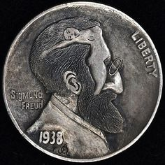 ALEX OSTROGRADSKY HOBO NICKEL - MAN, I READ YOUR MIND - 1938 BUFFALO PROFILE Hobo Nickel, Coin Art, Antique Coins, Coin Collecting, Metal Art, Sculpture Art, Carving, Famous People, Buffalo