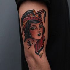 I'm L, and this is the world best quality tattoo source you'll find. Traditional Tattoo Lady Head, Traditional Tattoo Portrait, Traditional Gypsy Tattoos, Traditional Tattoo Old School, Traditional Tattoo Design, Traditional Tattoo Flash, Badass Tattoos, Head Tattoos, Time Tattoos