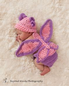 Crochet newborn Baby Hat and Cuddle Critter Set Butterfly Photo Prop. $40.00, via Etsy.