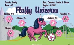 Unicorns-Fluffy-47374  digitally printed vinyl soccer sports team banner. Made in the USA and shipped fast by BannersUSA. www.bannersusa.com