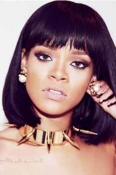 #Rihanna Cute Short Bob #1B Black Hair Full Bangs Lace Wigs