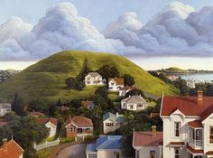 Auckland is built on a volcanic field, with small volcanic cones scattered over the landscape. The cone in the foreground of this painting is Mt Hobson in the suburb of Remuera, with Mt Victoria at Devonport in the distance (right). Artist Peter Siddell called this painting 'Passing clouds', suggesting that he was more interested in the sky than the hills. Aucklanders often take their unusual landscape for granted, and many of the cones have been quarried away for aggregate.