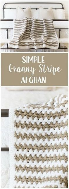 Simple Granny Stripe Afghan Blanket.