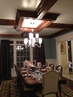 Dark tray ceiling in dining room- Homearama fall 2013