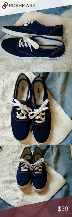 Brand New Keds Original Blue Champion Canvas Brand new with out tags and with out shoe box. Keds original dark blue navy blue champion canvas Oxford lace up sneakers shoes. Keds Shoes Sneakers
