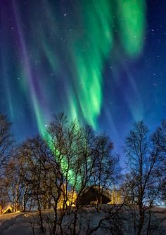 Northern Lights over Tunturikeskus Galdotieva, Enontekiö, Finland