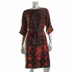 Hugo Boss | Black Silk Printed Knee-Length Wear to Work Dress | #BHFO