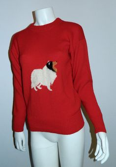 So bad it's good... vintage 1980s red wool sweater / sheltie collie by retrotrend