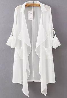 White Lapel Asymmetrical Loose Chiffon Blouse