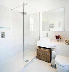 small bathroom with big shower . bottom of shower . simple minimalistic look .