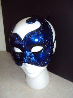 Midnight Blue Mens Masquerade Mask Venetian Carnival by JewelzMask, $27.95
