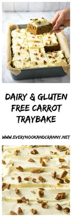 Deliciously moist and flavourful carrot cake so good you won't miss the dairy or the gluten at all! Deliciously moist and flavourful carrot cake so good you won't miss the dairy or the gluten at all! Gluten Free Treats, Gluten Free Cakes, Gluten Free Desserts, Dairy Free Recipes, Vegan Desserts, Dessert Recipes, Picnic Recipes, Quick Recipes, Chocolate Desserts