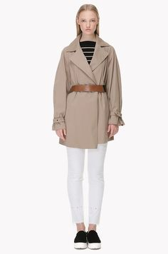 Cotton blend sleeve point trench coat