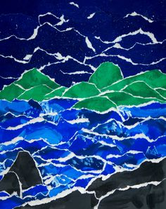 Painting - - grades: Landscape Collage from painted paper, in tempera. School Painting, Painting Lessons, Tempera, Painted Paper, Artworks, High School, Collage, Landscape, Abstract