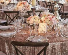 Quarzo rosa polveroso paillettes tovaglia seleziona la dimensione!  Sovrapposizioni, Gatsby matrimonio, matrimonio Glam, Vintage matrimoni, con paillettes oro rosa sposa