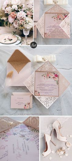 The Queen's Garden raised ink blush floral laser cut wedding invitations with glitter backer EWWS241
