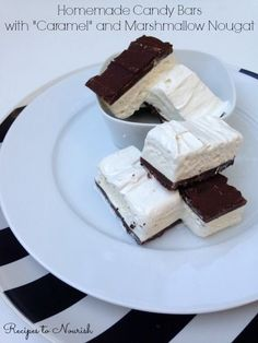"""Homemade Candy Bars with """"Caramel"""" + Marshmallow Nougat ... so delicious and irresistible, these homemade candy bars are made with healthier ingredients, so go ahead and have a few 