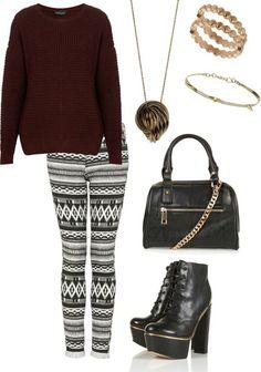 Tribal leggings burgundy top & accessories