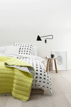 Add a graphic accent to the bedroom with the Haas quilt cover, featuring a modern geo print front and grid reverse on a soft, cotton twill base. Country Road Home - Spring 2014