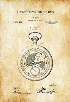 Pocket Watch Patent 1916 - Patent Print Watch Art Pocket Watch Vintage Watch Antique Watch by PatentsAsPrints Antique Watches, Vintage Watches, Etiquette Vintage, Patent Office, Patent Drawing, Vintage Pocket Watch, Poster Prints, Art Prints, Blue Prints