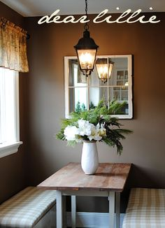 Love this country chic decor.  And the lighting is fabulous!