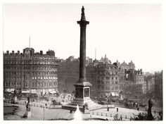 Victorian View of Trafalgar Square from National Gallery, London, England, Large size 41 by 28 cm Canvas Textured Fine Art Paper Photo Print Clapham Common, Great Fire Of London, Victorian London, Vintage London, Victorian Buildings, Fleet Street, Pedestrian Bridge, Trafalgar Square, Greater London