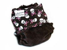 Fitted Cloth Diaper, OS, CottonTwill / Bamboo Velour - Skulls, crossbones, black, pink from greenchildcreations on Etsy.com  $15.50.  The perfect diaper for the little Goth in your life.