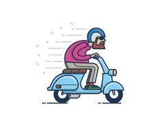 Br-br designed by Dima Jaman. Connect with them on Dribbble; Vespa Vbb, Motos Vespa, Vespa Lambretta, Motor Scooters, Vespa Scooters, Vespa Vector, Vespa Illustration, Vespa Logo, Coffee Cup Art