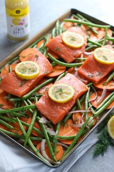 One-Pan Salmon and Veggie Bake | The Real Food Dietitians | http://therealfoodrds.com/one-pan-salmon-and-veggie-bake/