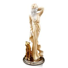ceramic porcelain lady finished in pure gold and platinum handmade in Italy