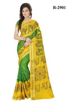 0165bd3e6 Majestic yellow and green art silk casual wear printed silk saree. Having  fabric art silk. The beautiful border work and bandhej design on the attire  adds a ...